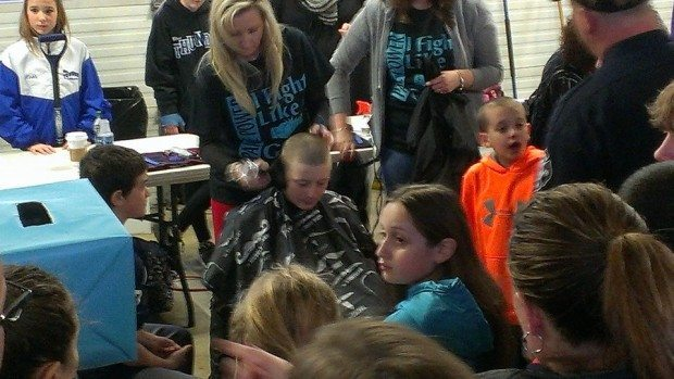 My friend Jake getting his head shaved to support Paige #shaveforpaige